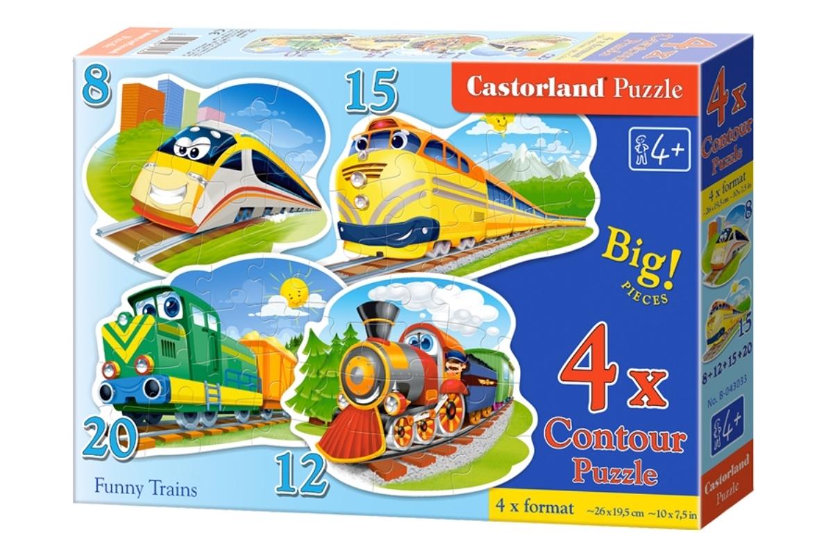 Castorland Пазл для малышей Забавные паровозики 4 в 1 castorland пазл для малышей в аэропорту