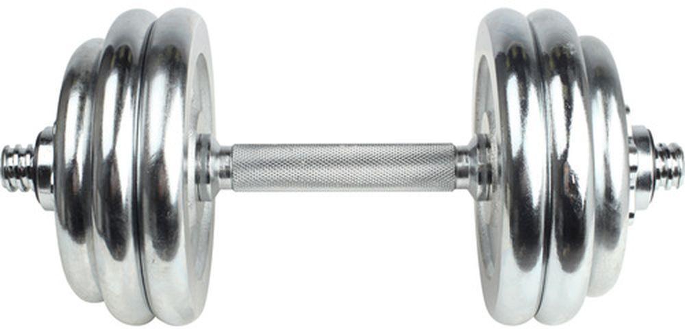 Набор хромированных гантелей OneRun, 18 предметов471-8344Набор гантелей OneRun поставляется в прочном пластиковом кейсе, что обеспечивает удобство хранения и переноски. В комплект входят: диск (1,25 кг) х 8 шт, (0,5 кг) х 4 шт., гриф (диаметр 26 мм, длина 35 см) х 2 шт, замок-гайка х 4 шт. Гриф и диски покрыты хромом защищающим от коррозии и имеющим привлекательный внешний вид. Отличный подарок для любителей атлетики.