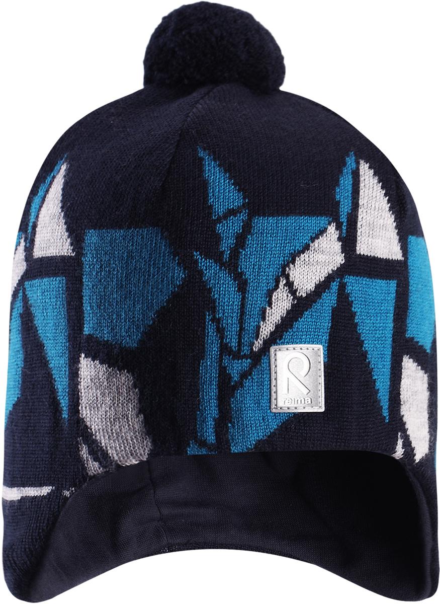 Шапка-бини детская Reima Kaja, цвет: синий. 528548698A. Размер 56528548698AЯркая шерстяная шапка для малышей и детей постарше Reima станет отличным вариантом на зимние холода. Шапка выполнена из шерсти и снабжена мягкой трикотажной подкладкой. Ветронепроницаемые вставки защищают ушки в ветреную погоду. Модель украшена цветным геометрическим рисунком и дополнена помпоном на макушке.