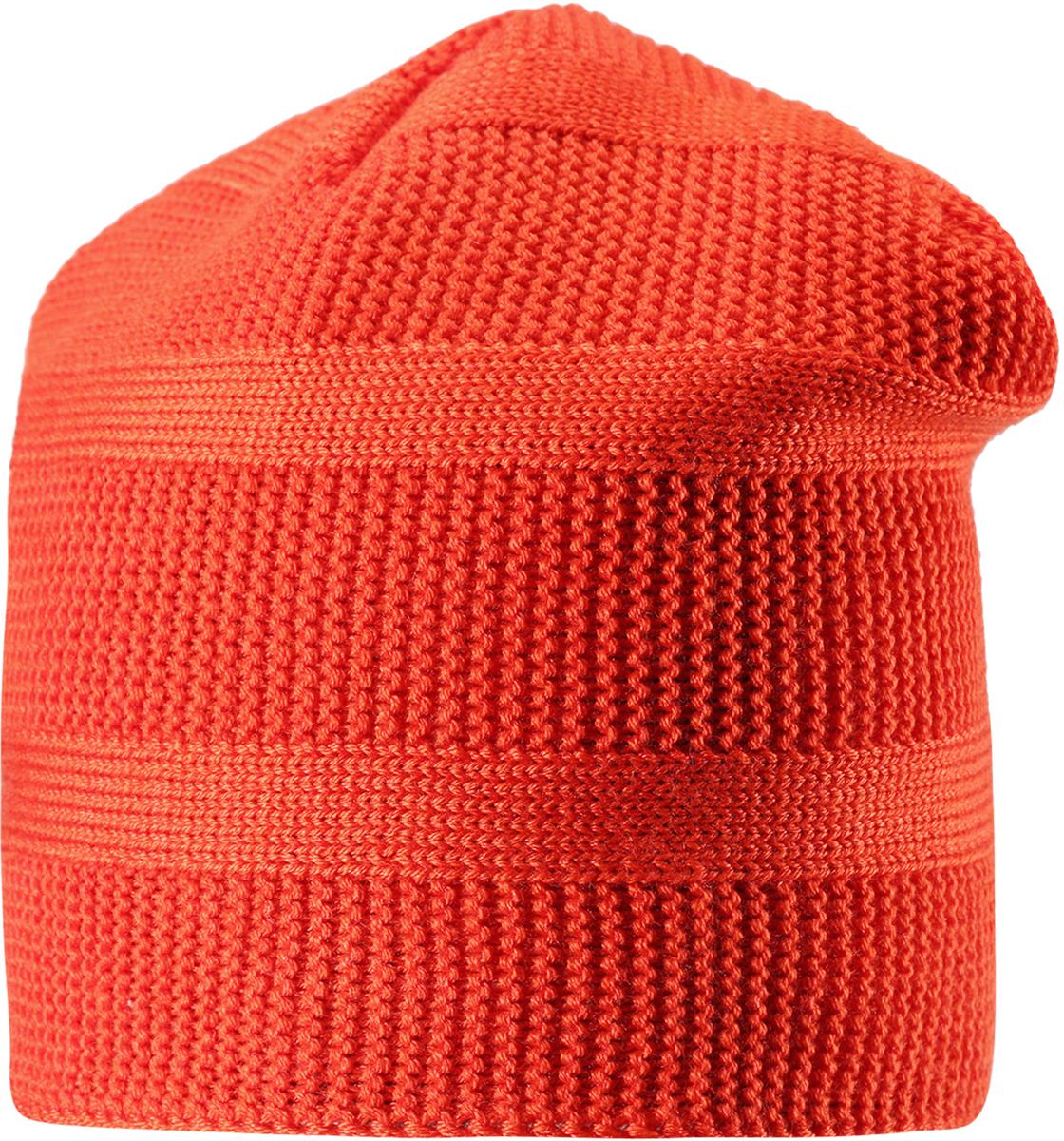 Шапка-бини детская Reima Pettu, цвет: оранжевый. 5285643710. Размер 505285643710Детская шапка из теплого полушерстяного трикотажа. Шерсть – превосходный терморегулятор. Ветронепроницаемые вставки и подкладка из мягкого и дышащего флиса. Оригинальный структурный узор дополняет образ.