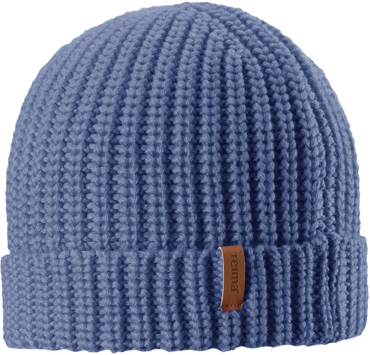 Шапка-бини детская Reima Vanttuu, цвет: синий. 5285426740. Размер 545285426740Детская шапка Reima выполнена из теплого полушерстяного трикотажа. Шерсть - превосходный терморегулятор. Облегченная модель без подкладки. Оригинальный структурный узор дополняет образ.