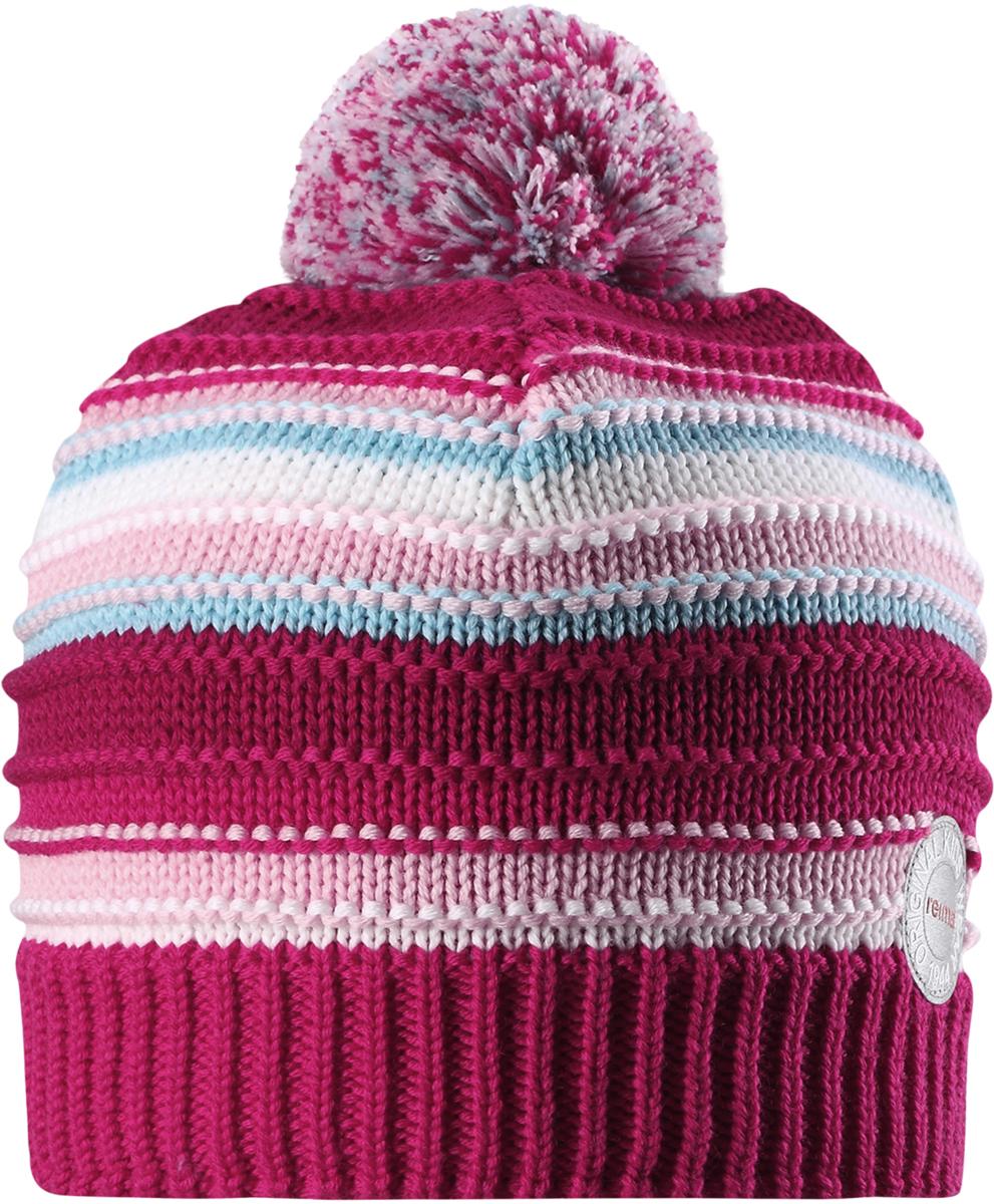 Шапка-бини для девочки Reima Hurmos, цвет: розовый. 5285533560. Размер 525285533560Шапка для малышей и детей постарше Reima изготовлена из дышащей и теплой мериносовой шерсти. Мягкая флисовая подкладка гарантирует тепло, а ветронепроницаемые вставки между верхним слоем и подкладкой защищают уши. Модель выполнена узорной вязкой и дополнена помпоном на макушке.