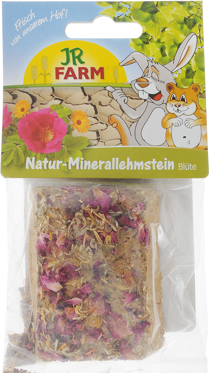Натуральный минеральный суглинистый камень для грызунов JR Farm, с цветками, 100 г камень для шиншилл jr farm жевательный 50 г