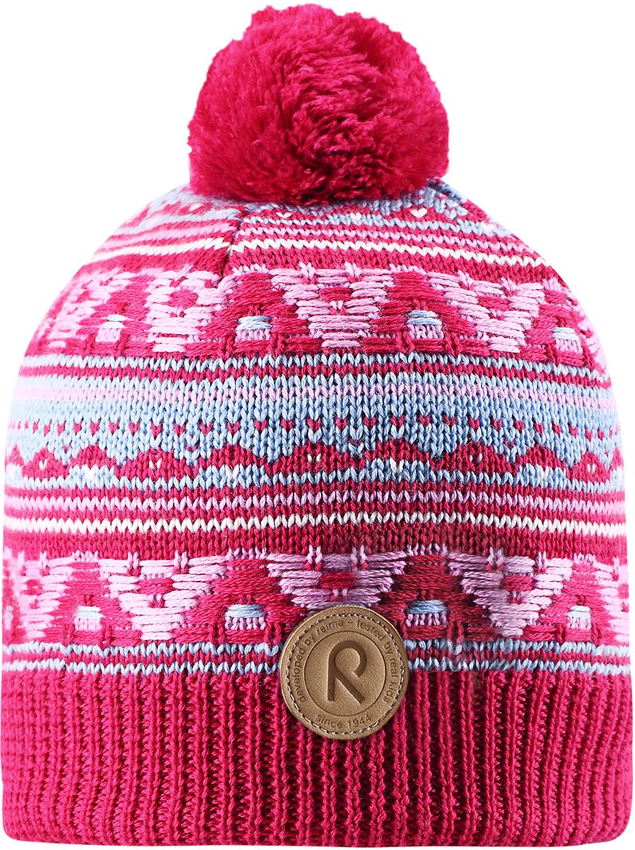 Шапка-бини для девочки Reima Neulanen, цвет: розовый. 5380263560. Размер 565380263560Детская шапка Reima выполнена из теплого шерстяного трикотажа. Материал превосходно регулирует температуру и хорошо согревает голову. Шапка снабжена подкладкой из мягкого флиса, ветронепроницаемые вставки защищают ушки в ветреную погоду. Декоративный вязаный узор и помпон на макушке завершают образ.