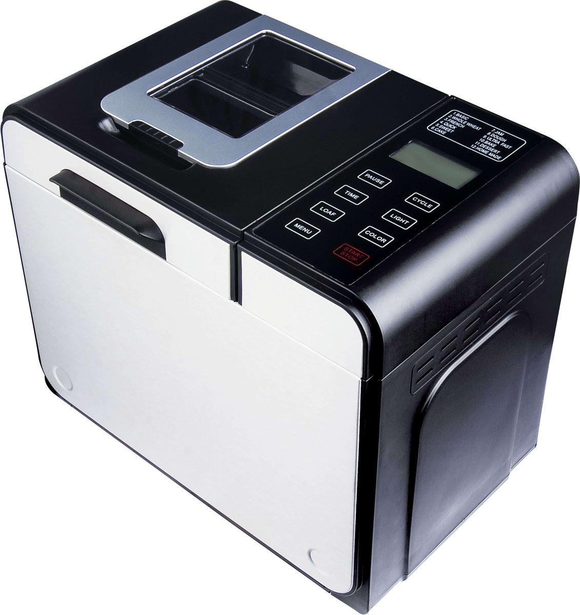 Gemlux GL-BM-775, Silver, Black хлебопечкаGL-BM-775Хлебопечка Gemlux GL-BM-775 - это сочетание широкой функциональности, надежности и высокого качества исполнения. Модель имеет стильный корпус из пластмассы со вставками из алюминия. Вы можете выбрать три варианта цвета корочки (светлая, средняя, румяная), два варианта веса буханки (750 и 900 г), отсрочить старт до 13 часов и при необходимости подогревать готовое изделие в течение 60 минут. В случае кратковременного отключения электричества (до 15 минут) после восстановления энергоснабжения устройство продолжит выполнение прерванной программы.Хлебопечка Gemlux GL-BM-775 имеет электронное управление с 11 стандартными программами. Для опытных домашних мастеров предусмотрена также возможность создания собственной программы (кнопка Home Made). Хлебопечка может выпекать не только обычный белый хлеб, но и французский, цельнозерновой, бездрожжевой и сдобный, а также замешивать и расстаивать тесто, готовить десерты и варить джемы и мармелады. Устройство оснащено съемной чашей с антипригарным покрытием. В комплект поставки входит мерная ложка, мерный стакан, лопасть для замеса теста и дозатор, который позволяет в процессе замеса добавлять в тесто орехи и сухофрукты.