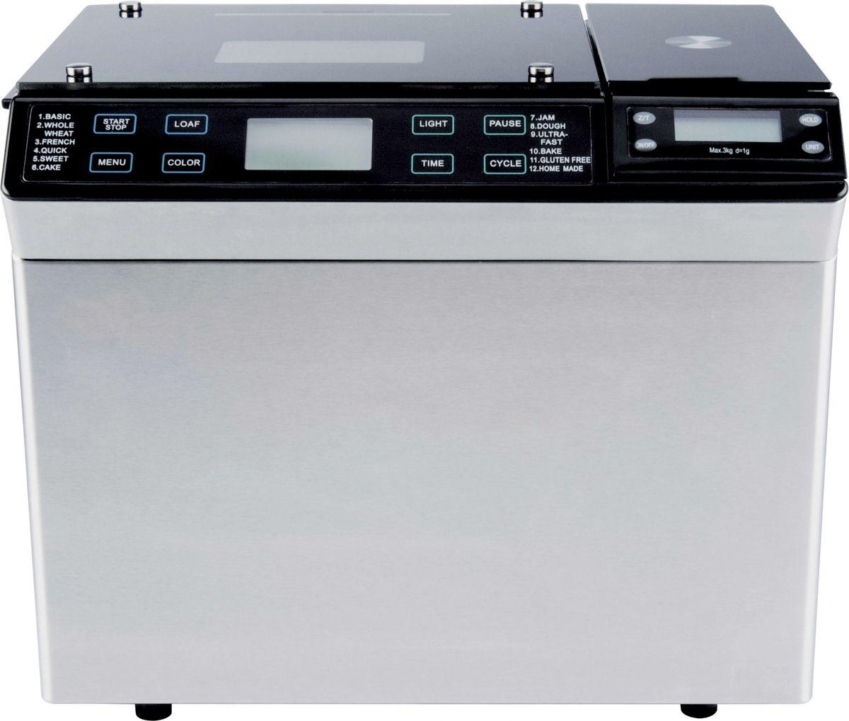 Gemlux GL-BM-999W, Silver, Black хлебопечкаGL-BM-999WХлебопечка Gemlux GL-BM-999W - это продвинутая модель с расширенным функционалом для настоящих мастеровхлебопечения. Вы можете выбрать три варианта цвета корочки (светлая, средняя, румяная), три варианта весабуханки (500, 750 и 900 г), отсрочить старт до 13 часов и при необходимости подогревать готовое изделие втечение 60 минут. В случае кратковременного отключения электричества (до 15 минут) после восстановленияэнергоснабжения устройство продолжит выполнение прерванной программы.Хлебопечка Gemlux GL-BM-999W имеет электронное управление с 11 стандартными программами. Для опытныхдомашних мастеров предусмотрена также возможность создания собственной программы (кнопка Home Made).Хлебопечка может выпекать не только обычный белый хлеб, но и французский, цельнозерновой, бездрожжевой исдобный, а также замешивать и расстаивать тесто, готовить десерты и варить джемы и мармелады. Устройствооснащено съемной чашей с антипригарным покрытием. В комплект поставки входит мерная ложка, мерный стакан,лопасть для замеса теста и дозатор, который позволяет в процессе замеса добавлять в тесто орехи и сухофрукты,а также электронные весы для взвешивания ингредиентов.