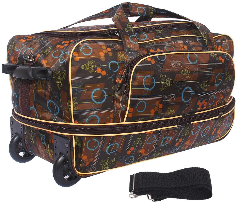 Сумка дорожная AMeN, цвет: коричневый. 12622041262204Собираетесь в дальнее путешествие, в гости к родственникам или просто за город? Тогда вам пригодится дорожная сумка AMeN на колесах. Сумка имеет 1 большое отделение с возможностью расширения и наружный карман. В такую сумку поместится все, начиная от соломенной шляпки и заканчивая бабушкиными соленьями, в зависимости от того, какой вы выберете маршрут.Сумка на колесиках удобна в любой ситуации. Просто выдвиньте длинную ручку и с легкостью перевозите свои вещи во время поездки.Фирма Amen производит сумки на собственной фабрике. При пошиве изделий используются современные материалы, обеспечивающие износостойкость и яркость материала. Дизайн аксессуаров разрабатывается в соответствии с последними модными тенденциями.