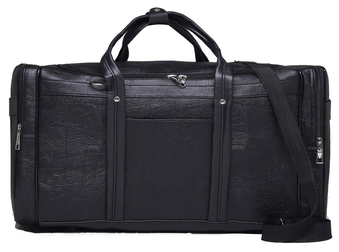 Сумка дорожная Sima-land, цвет: черный, 56 х 27 х 29 см. 18478011847801Дорожная сумка Sima-land будет незаменима для путешествий, поездок за город или занятий спортом. Имеет одно отделение на молнии и 5наружных карманов.Практичный аксессуар выполнен из экокожи.Модель оснащена широкими ручками и длинным съёмным ремнём для комфортной переноски. Это вещь достойного качества, которая может стать прекрасным подарком по любому поводу.