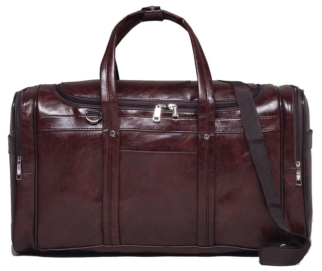Сумка дорожная Sima-land, цвет: коричневый, 56 х 27 х 29 см. 18478021847802Дорожная сумка Sima-land будет незаменима для путешествий, поездок за город или занятий спортом. Имеет одно отделение на молнии и 5наружных карманов.Практичный аксессуар выполнен из экокожи.Модель оснащена широкими ручками и длинным съёмным ремнём для комфортной переноски. Это вещь достойного качества, которая может стать прекрасным подарком по любому поводу.