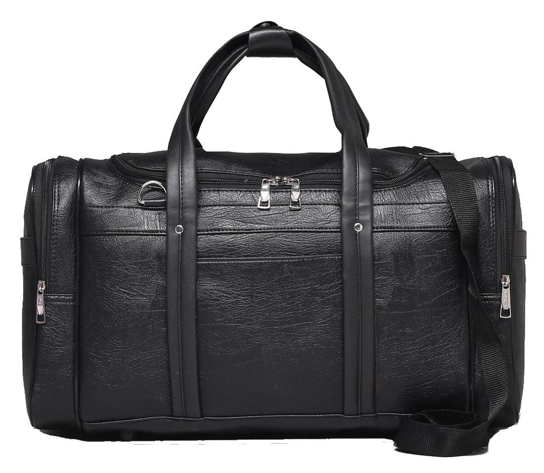 Сумка дорожная Sima-land, цвет: черный, 50 х 23 х 27 см. 18478031847803Дорожная сумка Sima-land будет незаменима для путешествий, поездок за город или занятий спортом. Имеет одно отделение на молнии и 5 наружных карманов. Практичный аксессуар выполнен из экокожи.Модель оснащена широкими ручками и длинным съёмным ремнём для комфортной переноски.Это вещь достойного качества, которая может стать прекрасным подарком по любому поводу.