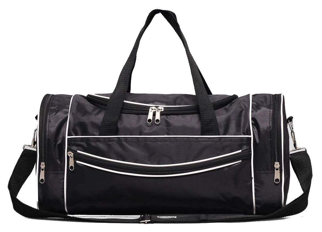 Сумка дорожная Sima-land, цвет: черный, 40 х 21 х 22 см. 22905462290546Модная дорожная сумка Sima-land предназначена для тех, кто собирается в путешествие или деловую поездку. Она выполнена из текстиля. Сумка имеет большое отделение и 3 наружных кармана. В большое отделение вместятся необходимые вещи от нижнего белья до верхней одежды, а удобные карманы предназначены для хранения предметов первой необходимости: косметички, зубной щётки или влажных салфеток. Теперь не надо перерывать весь багаж в поисках нужной вещи. Порядок в сумке поможет всегда быть в курсе того, где и что лежит.