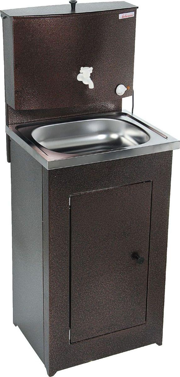 Умывальник «Акватекс» — отличное приобретение для дачи, гаража, мастерской или других мест без центрального водоснабжения.  Металлическая конструкция медного цвета проста в эксплуатации и уходе, обладает высокой износоустойчивостью. Раковина выполнена из  нержавеющей стали, а на бак для воды нанесено запатентованное устойчивое к коррозии покрытие. Огромное преимущество — наличие  встроенного водонагревателя, который будет особенно актуален в прохладную погоду. Данная модель отлично подходит как для гигиенических  процедур, так и для хозяйственных целей.  Преимущества: пластиковый шаровой кран продукция сертифицирована увеличенная высота тумбы плавная регулировка температуры воды  усиленная стойка бака тумба на ножках (циркуляция воздуха под тумбой предохраняет ЛКП от коррозии) отсутствие петель (причины  возникновения ржавчины) увеличенная дверца.  Характеристики: Объем бака: 17 л. Материал раковины: нержавеющая сталь. Мощность нагрева: 1,25 кВт. Время нагрева до 60 градусов: 30 мин. Номинальное  напряжение: 220 В. Размеры: 150 x 55 x 45 см. Масса: 12 кг. Гарантия: 12 месяцев.
