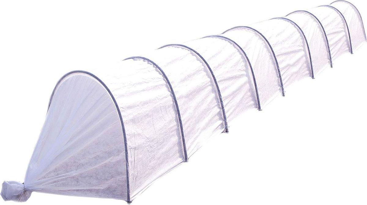 Парник Агроном, 8,5 м 13326741332674Основа парника — укрывной материал «Агротекс-42» (ширина — 2,1 м). Он имитирует тропический микроклимат, выдерживает слой снега и не повреждает всходов. Его можно использовать на протяжении нескольких сезонов. С помощью такого «одеяла» вы укроете даже самые нежные ростки. Сельскохозяйственные культуры под ним созревают быстрее. Парник прост в использовании. В отличие от теплицы его можно переносить в любое место. Чтобы покрыть большую площадь посадки, вкопайте дуги на глубину не более 30 см. В комплект парника «Ленивый» входит: Прошитый укрывной материал повышенной прочности, Дуги ПНД O 20 мм длиной (9 шт), Ножки-колышки (длиной 20 см) из ПНД, Клипсы-зажимы по 1 шт на каждую дугу. Высота парника в разобранном виде 0,8 метра, ширина . Парник в упаковке компактен и легок. Габариты упаковки: 1,1 м**. Преимущества: защищает растения от ветра, града, холода, прямых солнечных лучей поддерживает оптимальный микроклимат обеспечивает поступление воды к корням при низкой температуре (от 0 до +8 ?) пропускает свет, когда день идет на убыль не промокает и не ржавеет за счет каркаса из ПНД в парнике обычно на 5–12 ? теплее, чем на улице защищает сельскохозяйственные культуры от мелких вредителей, птиц удерживает влагу, снижает потребность в поливе по сравнению с выращиванием в открытом грунте сохраняет форму с помощью дуг покрывает большую площадь посадки благодаря своему размеру (8 секций, 8,5 ? 2,1 м). Установка парника Прочно закрепить каркасные дуги (в комплекте 9 шт. диаметром 1,6 см) на глубине 20?30 см. Натянуть защитную пленку. Длина дуги в развернутом состоянии — 2 м. Размер готового изделия зависит от того, как глубоко и широко размещены арки. Зажимы в комплект не входят. Парник изготовлен из труб из ПНД, вшитых в укрывной материал. В комплекте 9 клипс.