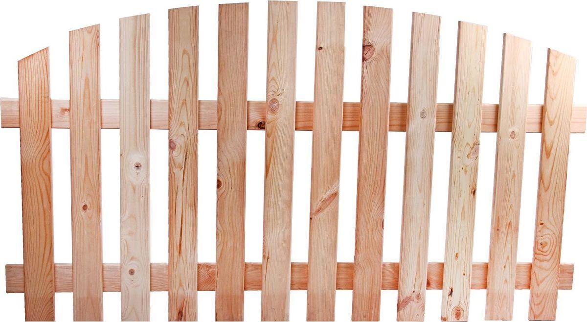 Ограждение садовое декоративное Rasha, 1 секция, цвет: сосна, 100 х 180 см1334163Ограждение садовое декоративное Rasha - это простой способ окружить себя красотой и уютом и создать атмосферу защищенности. Размер секции позволяет выделить участок из окружающей среды и преградить детям путь к проезжей части.Ограждение сделано из натуральной сосны. Фактура древесины придает изделию неповторимый вид. За счет светлого оттенка любые потертости и повреждения останутся незаметными. Заборчик крепится боковыми колышками и не требует дополнительных подпорок для установки. Преимущества: -безопасный экологически чистый материал; -натуральный цвет;-устойчивость к выгоранию; -длительный срок службы.Характеристики:Всего секций: 1 шт. Размеры одной секции: 100 х 180 см. Высота без ножки: 100 см. Общая длина: 180 см.