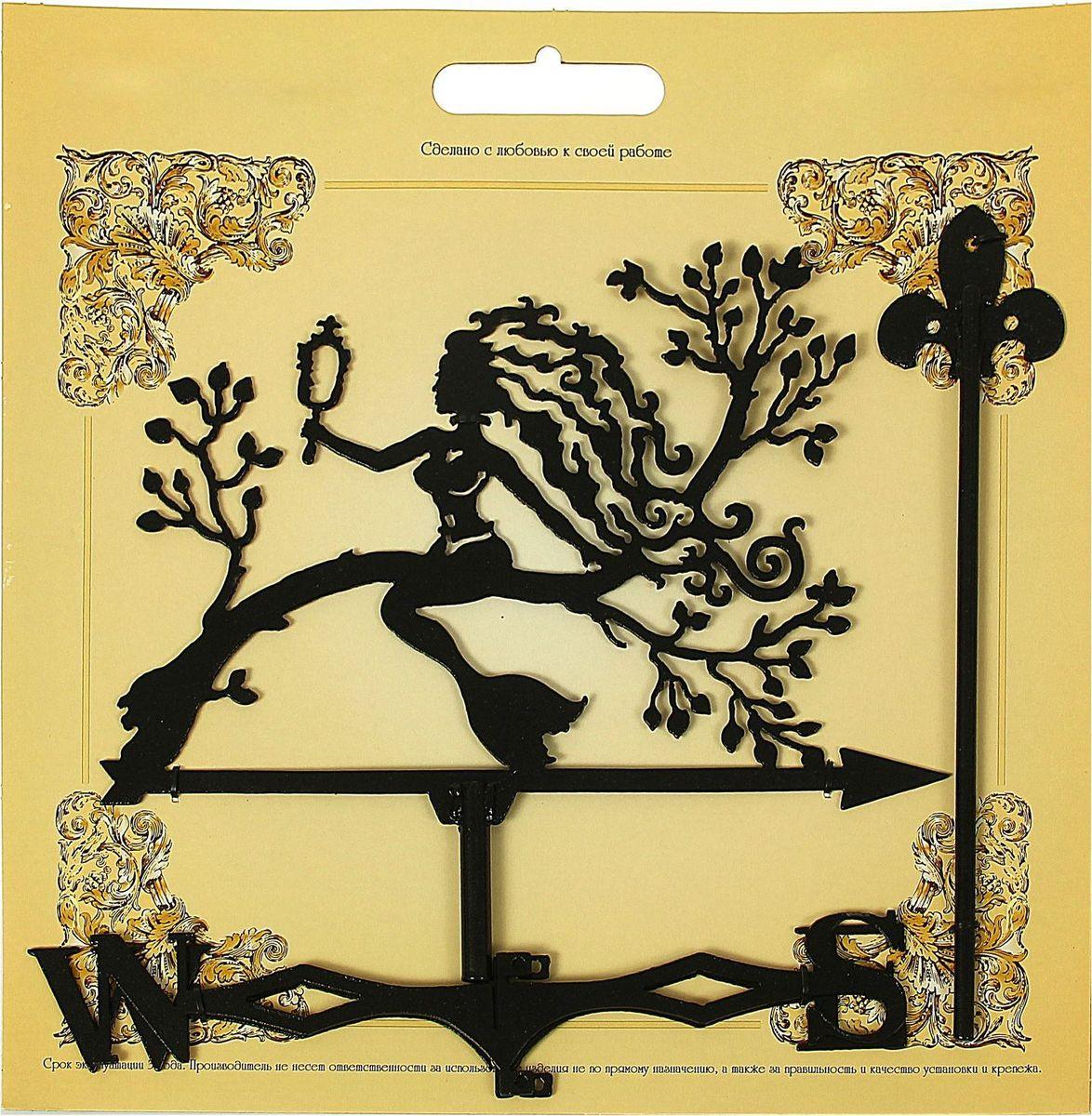 Флюгер Русалка на дереве, 30 х 40 см1335689Флюгер — это декоративный элемент и прибор, с помощью которого определяют направление ветра. Его устанавливают на самом высоком открытом месте: крышах зданий, беседках, башнях. Флюгер Русалка на дереве изготовлен из листового металла толщиной 1,5 мм, сверху обработан антикоррозийной краской. Изделие включает неподвижный шпиль, флажок и указатель сторон света.