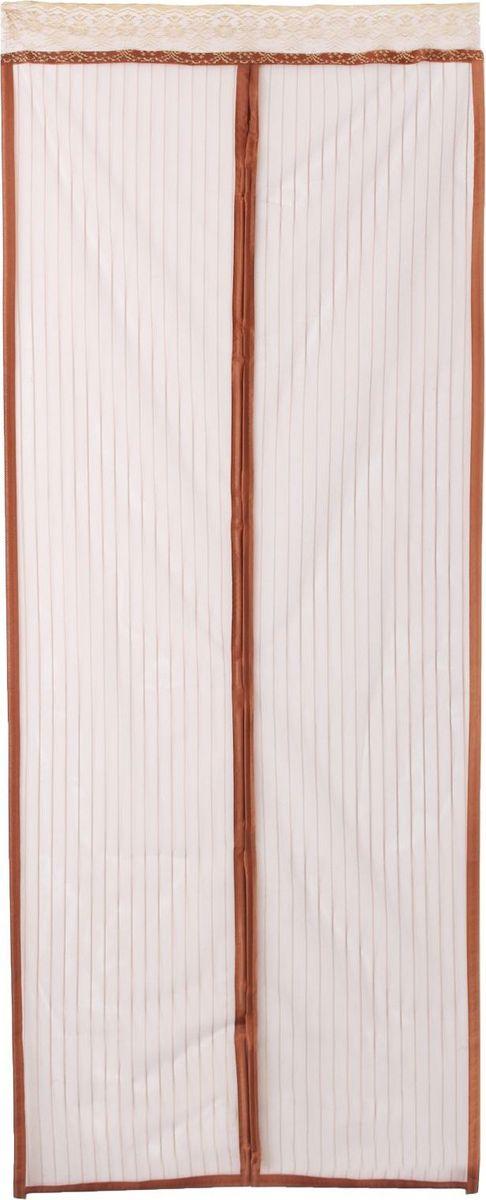Сетка антимоскитная, на магнитной ленте, цвет: коричневый, 90 х 210 см1389829Сетка антимоскитная защитит вас от насекомых, изготовленная на магнитной ленте, универсальна в использовании: подвесьте ее при входе в садовый дом или балкон, чтобы предотвратить попадание комаров внутрь жилища. Наслаждайтесь свежим воздухом без компании надоедливых насекомых.Чтобы зафиксировать занавес в дверном проеме, достаточно закрепить занавеску по периметру двери с помощью кнопок, идущих в комплекте.В комплект входит: полиэстеровая сетка-штора (90 x 210 см), магнитная лента и крепёжные крючки.Принцип действия занавеса предельно прост: каждый раз, когда вы будете проходить сквозь шторы, они автоматически захлопнутся за вами благодаря магнитам, расположенным по всей его длине.
