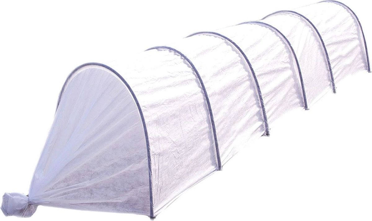 Парник, 5 м 14107361410736Зимой слой снега защищает растения от переохлаждения. Такой же эффект можно создать с помощью профессионального парника. Его основа — укрывной нетканый материал плотностью 60 г/м2. Он имитирует тропический микроклимат. Полотно выдерживает толстый пласт снега и не повреждает всходы. Его можно использовать на протяжении 5 сезонов. С помощью такого «одеяла» вы укроете даже самые нежные ростки. Сельскохозяйственные культуры под ним созревают быстрее и на 20 % лучше всходят. Преимущества: защищает растения от ветра, града, заморозков, солнечных лучей поддерживает оптимальный микроклимат, вода поступает к корням даже при низкой температуре (от 0 до +8 °С) пропускает свет, когда день идет на убыль не промокает и не ржавеет за счет каркаса из стали и ПВХ защищает сельскохозяйственные культуры от мелких вредителей, птиц удерживает влагу, снижает потребность в поливе по сравнению с выращиванием в грунте покрывает большую площадь посадки благодаря своему размеру (длина — 5 м, ширина — 1,2 м) сохраняет форму с помощью вшитых дуг (длиной 4 м). Парник прост в использовании. В отличие от теплицы его можно переносить в любое место. Чтобы покрыть большую площадь посадки, вкопайте дуги на глубину не более 30 см. Установка: Надежно закрепите 6 каркасных дуг на глубине 15?30 см. Натяните защитную пленку. Для проветривания укрывной материал можно сдвинуть. Форма парника при этом не изменится.