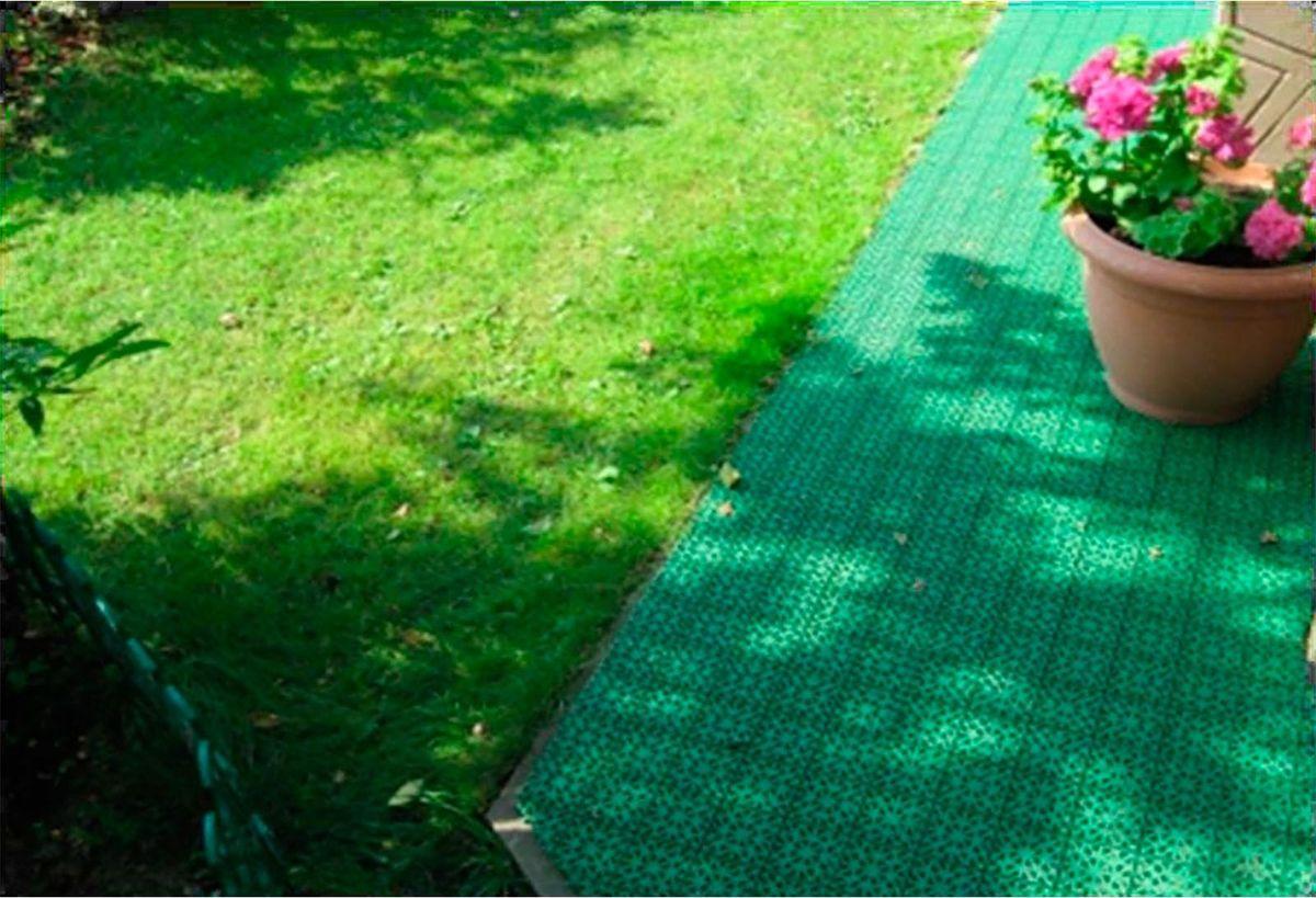Настил садовый, модульный, цвет:  зеленый, 33 х 33 х 0,9 см NoName