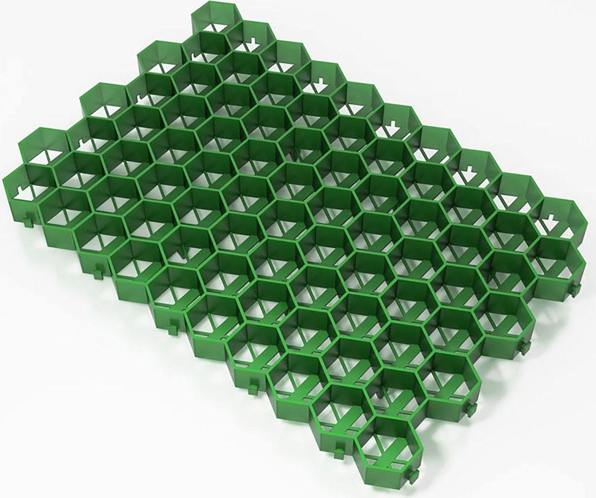 Решетка газонная, цвет: зеленый, 55 х 32,5 х 3,2 см1469560Газонная решётка, или покрытие для садовых дорожек - это модули из высокопрочного полиэтилена (полипропилен морозостойкий), напоминающие объёмные соты. Высота стенок ячеек создаёт камеры для грунта, которые призваны выдержать нагрузку человека или автомобиля, и давление на почву становится минимальным. Декоративная и практичная конструкция объединённых ячеек, каждая часть которых оснащена системой крючок-ушко для прочного соединения модулей в единую поверхность. Газонная решетка (георешетка) предназначена для благоустройства пешеходных дорог, автостоянок, мест проведения выставок и ярмарок, укрепления и благоустройства обочин дорог и земляных насыпей. Также газонная решетка может использоваться для укрепления территории вокруг спортивных сооружений, кемпингов, и других земляных участков с травяным покрытием.Решётка проста в обращении и сборке, защищает почву от вымывания и выветривания, устойчива к механическим нагрузкам, равномерно распределяет вес по всей площади покрытия, что обеспечивает идеально ровную поверхность без повреждения корневой системы газона. Дачникам совет - лучшего покрытия для садовых дорожек найти вам точно не удастся. Георешетка - это не только дешевое покрытие для садовых дорожек, но и прекрасная альтернатива брусчатке, и уж тем более - некрасивому и антиэкологичному асфальту!При подготовке основания для укладки газонной решётки необходимо учитывать характер будущей нагрузки: чем солидней будет нагрузка, тем массивней будут основания и серьёзней трамбовка. Перед установкой решетки необходимо уложить песчано-гравийную подушку 20-30 см, затем слой геотекстиля плотностью не менее 160 г/м2 и нанести выравнивающий слой 4-6 см из смеси песка и гравия. Установка решётки происходит путем соединения отдельных ячеек друг с другом рядами слева направо. При необходимости решётку можно разрезать циркулярной пилой или лобзиком. На заключительном этапе ячейки решётки заполняют плодородным грунтом и вы