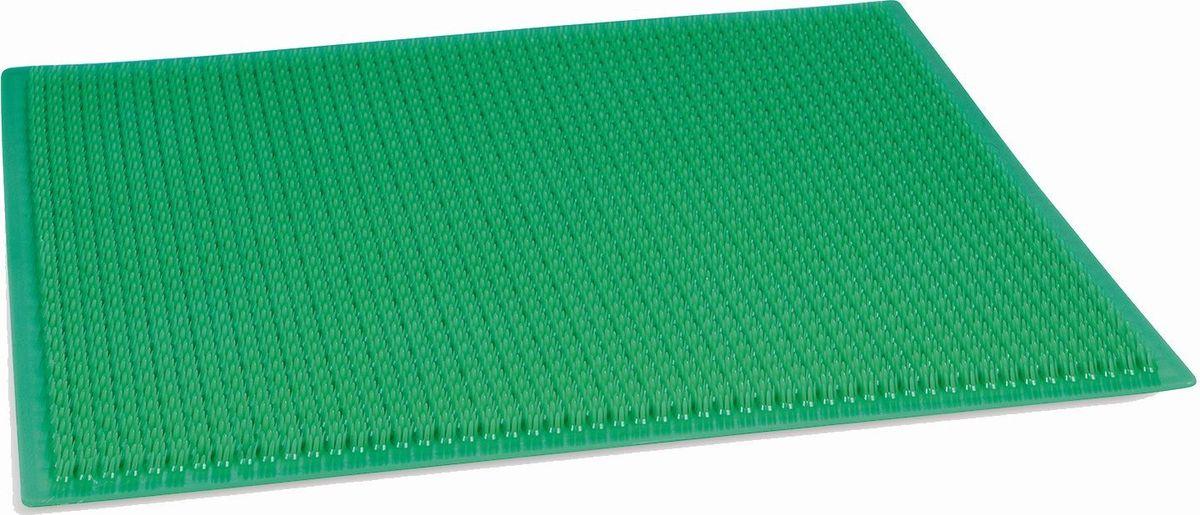 Настил садовый Травка, цвет: темно-зеленый, 38,5 х 58,5 см1499141Ковровое покрытие Травка - идеальное решение для защиты помещения от влаги, частиц песка и грязи, приносимых на обувных подошвах.Покрытие изготовлено из безопасного первичного полиэтилена. Изделие имеет плотную подложку из нетканого материала, что значительно повышает срок службы. Загибание углов в процессе эксплуатации полностью исключается. Травка обладает отличными противоскользящими характеристиками. Ворс ковриков не осыпается, а само покрытие не распускается даже при разрезании. Высота щетины - от 12 до 14 мм. Грязь легко смывается струёй тёплой воды, а пыль удаляется встряхиванием или пылесосом, благодаря чему привлекательный внешний вид сохраняется надолго. Зоны применения: входные группы и коридоры, входы в квартиры, подъезды, офисные помещения. Температурный диапазон, при котором возможно использование изделия: от -40 до +50 °С.