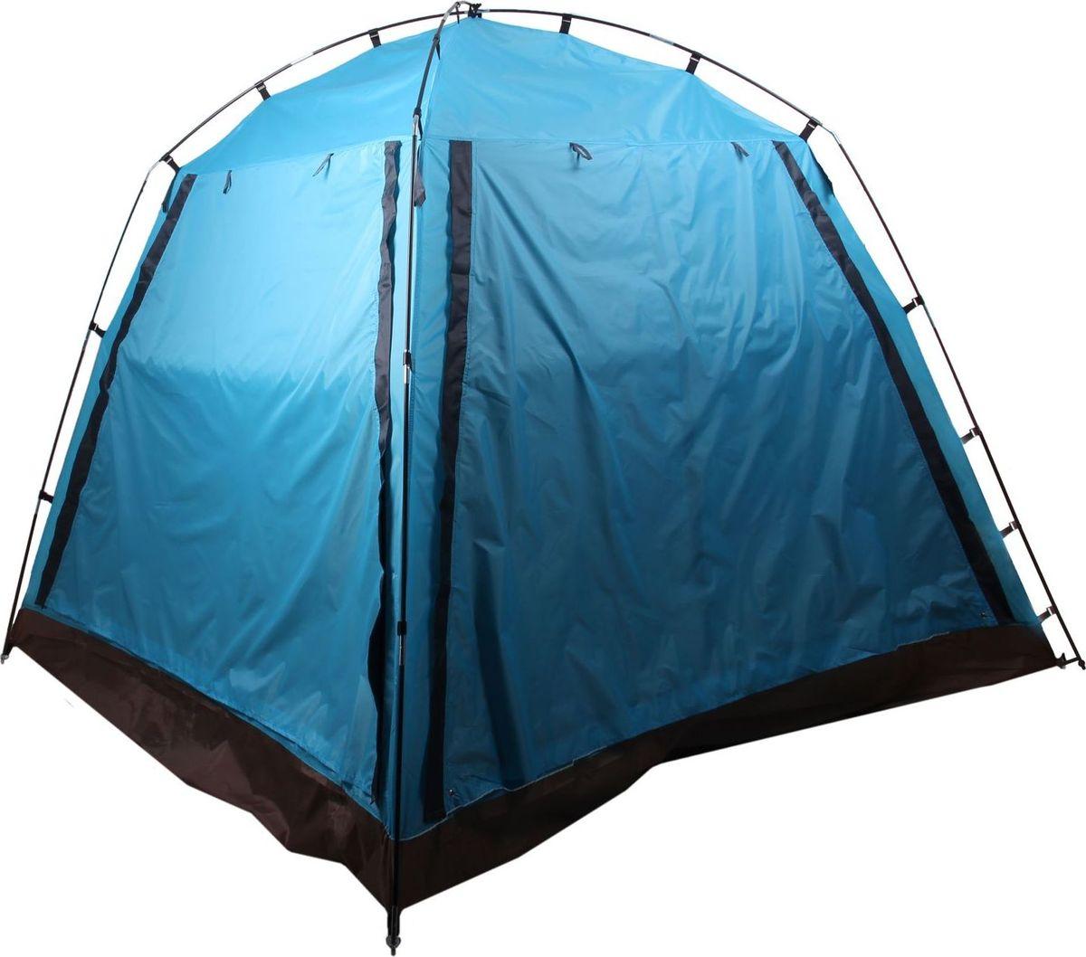 Шатер со стенками, размер 220 х 220 х 180 см, цвет синий позволит укрыться от солнца в жаркий день и защитит от надоедливых насекомых. Внутри палатки вы сможете расположиться для ночевки в теплую погоду. С двух противоположных сторон сделаны входы с москитной сеткой, закрывающиеся на молнию. Обе боковые стенки состоят из внешней откидывающейся части и оборудованы москитной сеткой, благодаря которой внутрь будет поступать свежий воздух. Характеристики Тент: таффета 210Т, влагозащита 3000 мм. Пол: оксфорд 210Д, влагозащита 3000 мм. Каркас: сталь. Толщина кольев: 3 мм. Толщина трубок: 10 мм. Толщина металлической оплетки: 1,5 мм. Вместимость: 3 человека.