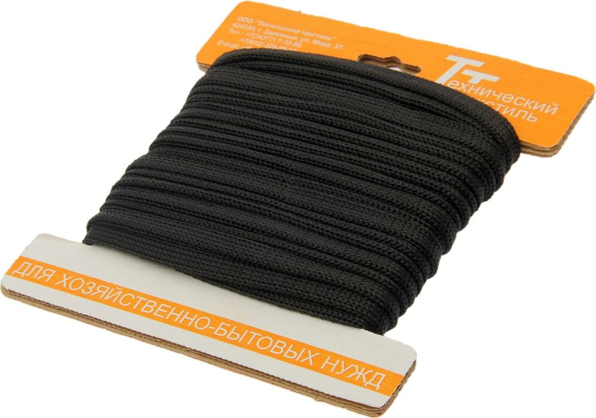 Шнур вязаный, цвет: черный, 12 мм, 10 м шнур бытовой ява 25 м 2 мм
