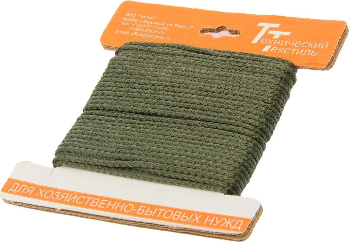 Шнур вязаный, с сердечником, цвет: оливковый, 4,5 мм, 20 м1827818Универсальный бытовой шнур изготовлен из прочного полипропилена с внутренним наполнителем (сердечником), который делает шнур более прочным и плотным. Шнур очень крепкий и надежный, подойдет как для бытового использования, так и для профессиональной деятельности. Диаметр шнура: 4,5 мм.Длина шнура: 20 м.