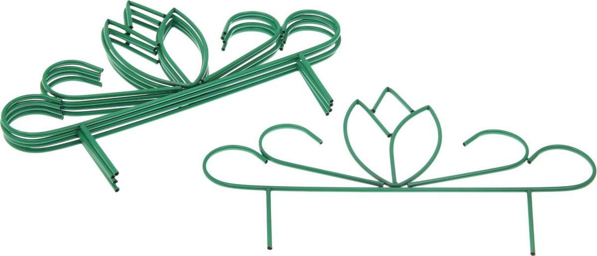 """Ограждение декоративное """"Бутон"""" имеет 5 секций, с заглушками защитит ваши цветники от  непоседливых детей и любопытных животных.Металлическое изделие имеет ряд  преимуществ: Длительный срок службы.  Забор защищен от коррозии специальным покрытием.  Ограждению не страшна непогода.  Надежность.   Благодаря своей прочности выдерживает механические нагрузки.  Яркий, насыщенный цвет не потускнеет со временем и не выгорит на солнце.  Простой уход. Характеристики: Всего секций: 5 шт. Размеры одной секции: 45 х 75 см. Высота без ножки: 32 см. Общая длина: 375 см."""