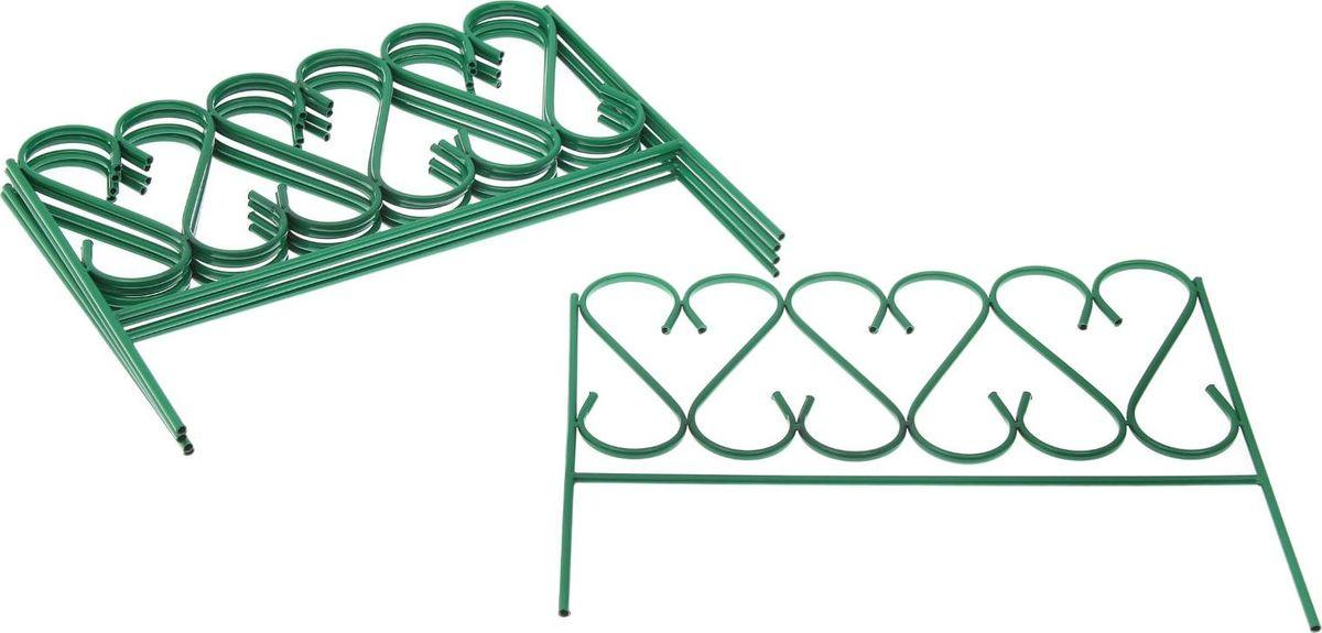 Ограждение садовое декоративное  Изящный , 5 секций, цвет: зеленый, 54 х 340 см - Садовый декор