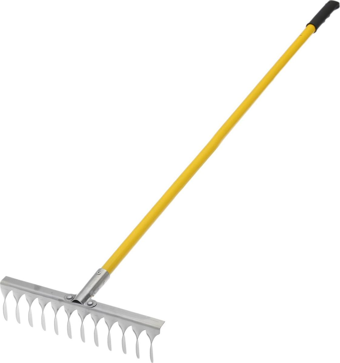 Грабли, с черенком, с витыми зубцами, длина 134 см2149073Грабли подходят для наведения порядка на участке, вычесывания травы, сбора опавших листьев. Металлические зубцы из нержавеющей стали разровняют даже тяжелую влажную почву, разобьют большие комки земли. По окончании использования очистите рабочую часть инструмента от остатков грунта. Храните в закрытом помещении. В комплект входит прочный яркий металлический черенок.