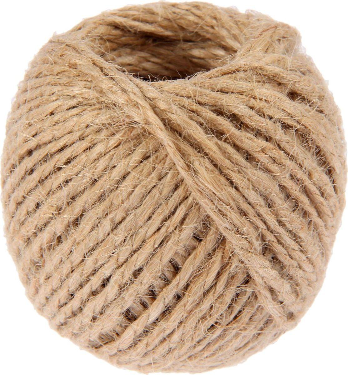 Шпагат джутовый, скрученный, цвет: натуральный, 1,5 мм, 30 м2259304