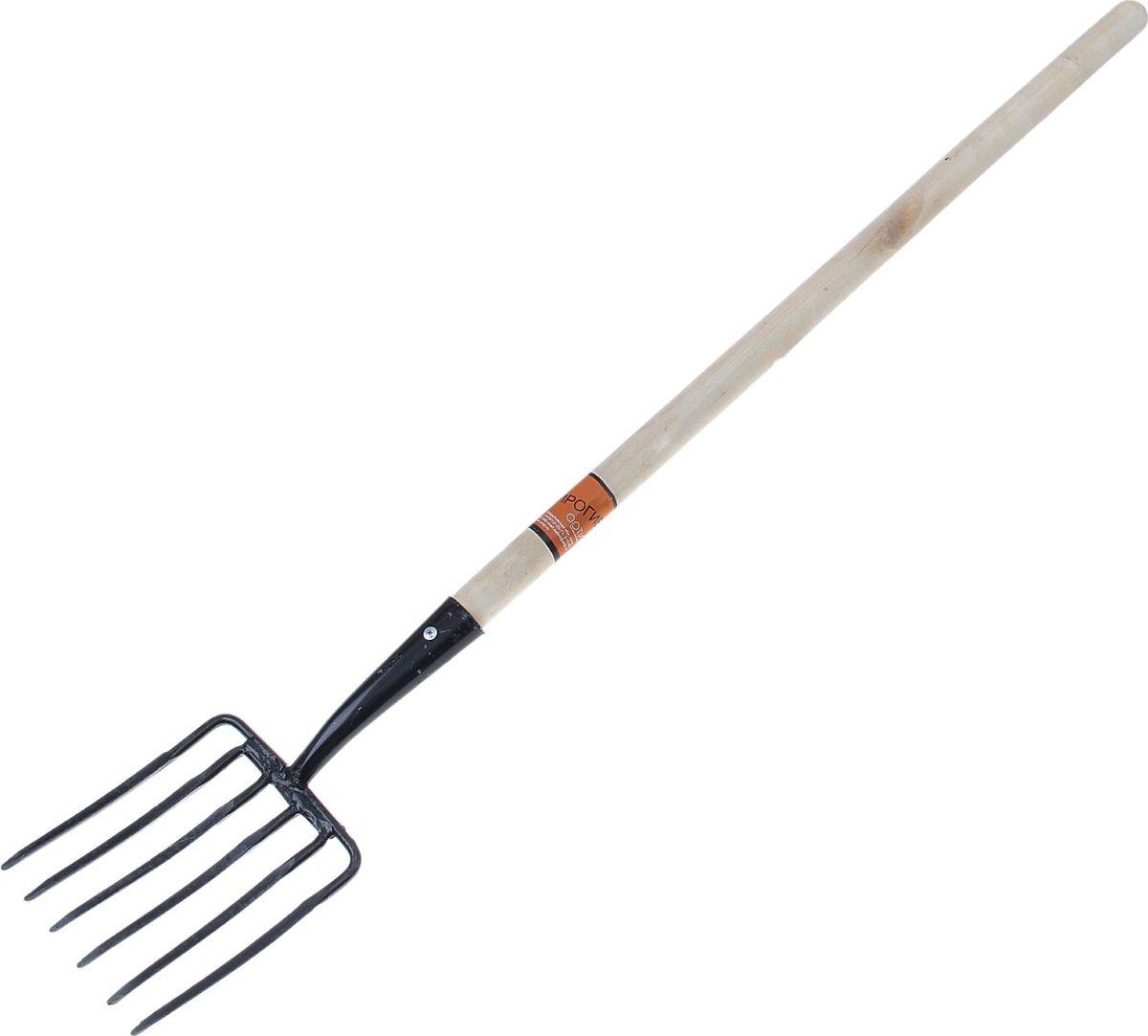 Вилы Арти, с черенком, длина 134 см508661Шестирогие вилы Арти с прямыми зубцами, покрытыми антикоррозионным составом, используют для земельных работ в огороде.Почему многие садоводы предпочитают копать таким инструментом, а не лопатой?Вилы легче благодаря своей конструкции. Вы меньше устанете и больше успеете сделать.При вскапывании данное приспособление не разрезает корни сорняков на части, оно достаточно легко отделяется от земли.Вилы не повреждают дождевых червей, которые способствуют естественной аэрации почвы.Таким инструментом удобно перекапывать плодово-ягодные культуры, не разрушая корни. Влажная земля не налипает вилы, как на лопату, и не утяжеляет их.При выкапывании картофеля данный инструмент не повреждает урожай. Грунт просеивается между зубьями. Клубни можно сразу складывать в тачку, а не выбирать руками из земли.В комплект входит деревянный черенок. Он прочный, лёгкий и долговечный.По окончании использования очистите рабочую часть инструмента от остатков грунта. Храните в закрытом помещении.