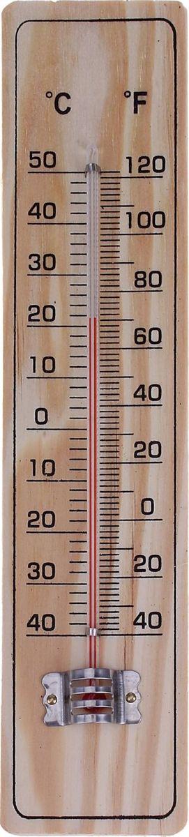 Термометр садовый, спиртовой, уличный, 20 х 4 см558417Термометр предназначен для определения температуры воздуха в помещении. Прибор отображает температуру по шкале Цельсия и по Фаренгейту. Жидкость в столбике представляет собой подкрашенный спирт, что делает изделие безопасным в быту. Классический дизайн термометра «под дерево» гармонично впишется практически в любой интерьер. Характеристики Тип: спиртовой. Отображение температуры воздуха (С°/ F°). Материал: дерево. Практичный, надежный и бюджетный вариант для дома!