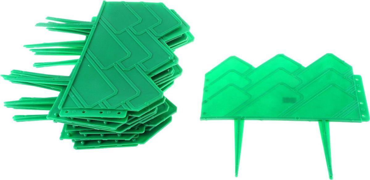 Ограждение садовое декоративное Домиком, 13 секций, цвет: зеленый, 14 х 310 см738745Ограждение садовое Домиком предназначено для декоративного оформления границ цветников, клумб, газонов, садовых дорожек и площадок. Изделие изготовлено из прочного пластика. Легко и быстро собирается, надежно крепится в земле. Скрепляются при помощи простого замка.Размеры одной секции: 25 x 10 x 25 см.Общая длина: 310 см.Количество ограждений в упаковке: 13 шт.
