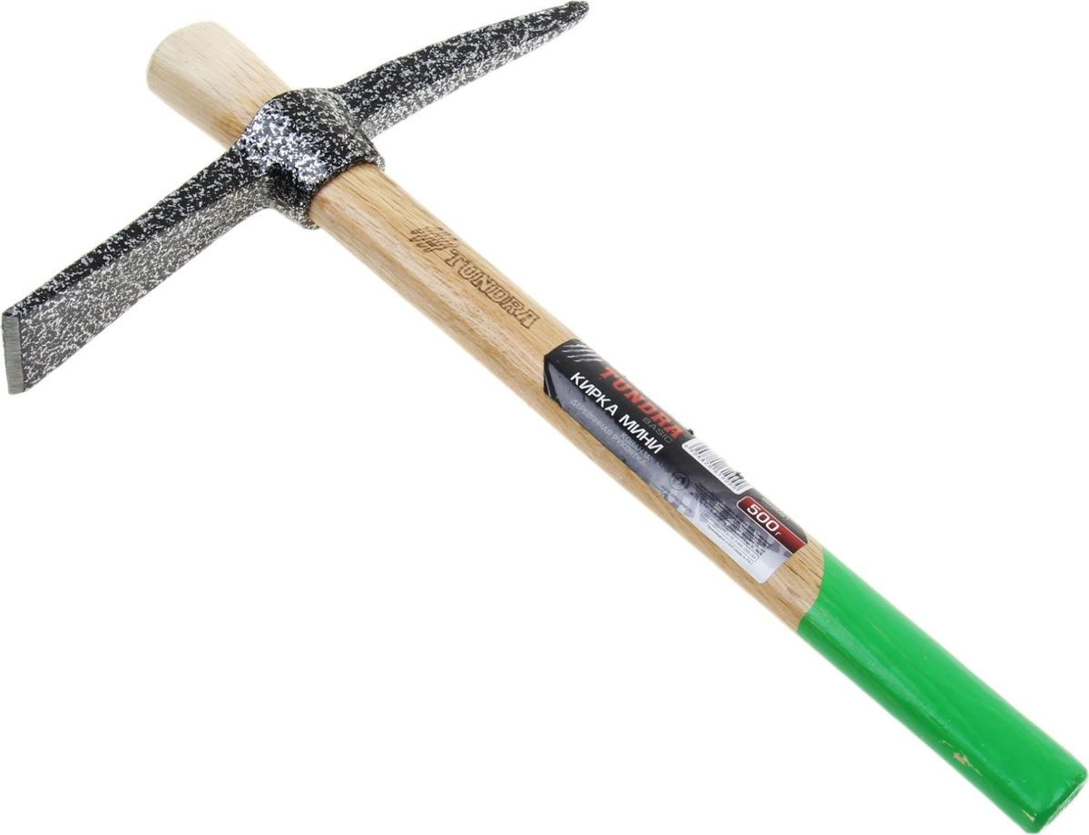 Кирка Tundra Basic Мини, длина 38 см882061Кирка применяется в строительных, каменных и других работах. Инструмент предназначен для раскалывания горной породы, камней, разрушения элементов железобетонных конструкций, старой кирпичной кладки. Рукоятка изготовлена из древесины твердых пород.