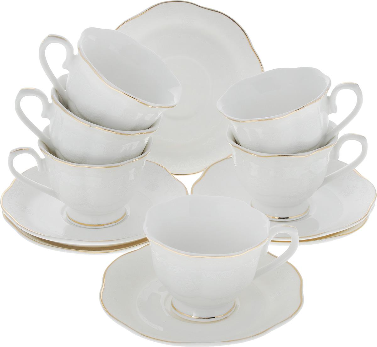 Сервиз кофейный Loraine, 12 предметов. 2644626446Кофейный сервиз Loraine на 6 персон выполнен из высококачественного костяного фарфора - материала, безопасного для здоровья и надолго сохраняющего тепло напитка. В наборе 6 чашек и 6 блюдец. Несмотря на свою внешнюю хрупкость, каждый из предметов набора обладает высокой прочностью и надежностью. Изделия украшены тонкой золотой каймой, внешние стенки дополнены рельефным цветочным орнаментом. Элегантный классический дизайн сделает этот набор изысканным украшением любого стола. Набор упакован в подарочную коробку, поэтому его можно преподнести в качестве оригинального и практичного подарка для родных и близких. Объем чашки: 80 мл. Диаметр чашки (по верхнему краю): 7 см. Высота чашки: 5,5 см. Диаметр блюдца: 11,5 см.