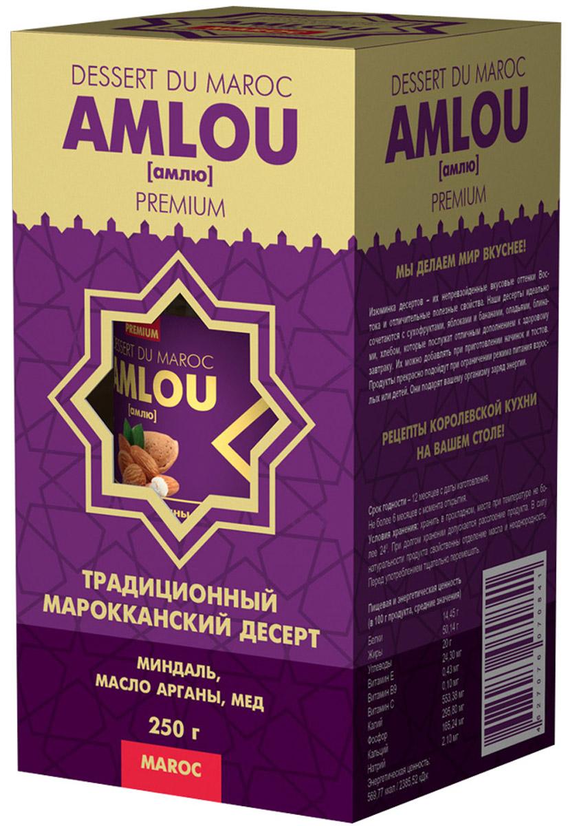 Dessert du Maroc Amlou Марокканская ореховая паста с миндалем и маслом арганы, 250 г10014Традиционный марокканский десерт из масла арганы, орехов и цветочного меда. Предназначен для здорового, сбалансированного и полноценного питания. Кардинальное отличие амлю от других десертов в том, что этот продукт содержит ценное масло арганы, являющегося источником витамина Е и полиненасыщенных жирных кислот Омега-6, Омега-9. Оно полностью усваивается организмом человека и способствует замедлению процесса старения клеток.МАСЛО АРГАНЫМасло арганы широко известно в мире, и его полезные свойства успешно применяют в медицине, кулинарии. Пищевое масло арганы получают прессованием семян арганового дерева. При регулярном употреблении в пищу аргановое масло нормализует показатели артериального давления и сердцебиения. Всего пара столовых ложек в течение дня препятствует развитию инфекций бактериальной и грибковой природы. Следует также отметить, что масло арганы при регулярном употреблении в несколько раз снижает вероятность возникновения и развития злокачественных опухолей, повышает защитные силы организма, а также стимулирует выведение из организма накопившихся в нем вредных веществ, используется в качестве продукта для заправки салатов и дополнительного ингредиента в приготовлении вкусных и питательных завтраков.ОРЕХИМиндаль является богатым источником полезных витаминов группы В, которые нормализуют обмен веществ, улучшают состояние кожи, волос и зубов. Витамин Е и его полезные антиоксидантные свойства, предотвращают вредное воздействие свободных радикалов на организм.МЕД ЦВЕТОЧНЫЙ100% натуральный из цветков апельсинового дерева. Регулярное употребление меда в пищу повышает иммунитет, делая организм более устойчивым к инфекциям.Десерты АМЛЮ очень питательны и могут использоваться как дополнение к ежедневному рациону, дающее организму энергию и даже свободно заменяющее полноценные завтрак, обед и ужин. Десерты прекрасно зарекомендовали себя при соблюдении диет, постов и после опера