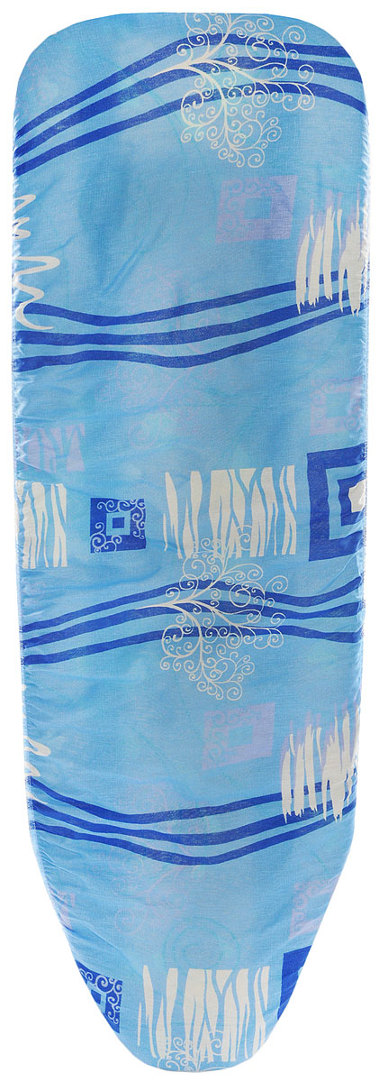 Чехол для гладильной доски Eva, цвет: голубой, белый, 119 х 37 см чехол для гладильной доски brabantia ящерица с войлоком 124 см х 38 см цвет голубой 265006
