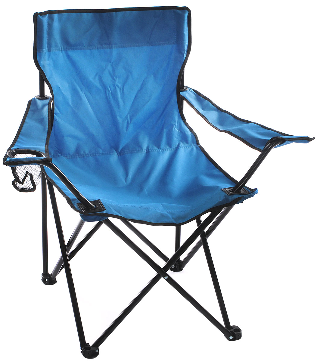 Кресло складное Wildman, с подлокотником, цвет: голубой, 77 х 50 х 80 см81-446_голубойНа складном кресле Wildman можно удобно расположиться в тени деревьев, отдохнуть в приятной прохладелетнего вечера.В использовании такое кресло достойно самых лучших похвал. Кресло выполнено из прочной ткани оксфорд, каркас стальной. Кресло оснащено удобными подлокотниками, в одном из них расположен подстаканник. В сложенном виде кресло удобно для хранения и переноски.В комплекте чехол для переноски и хранения.