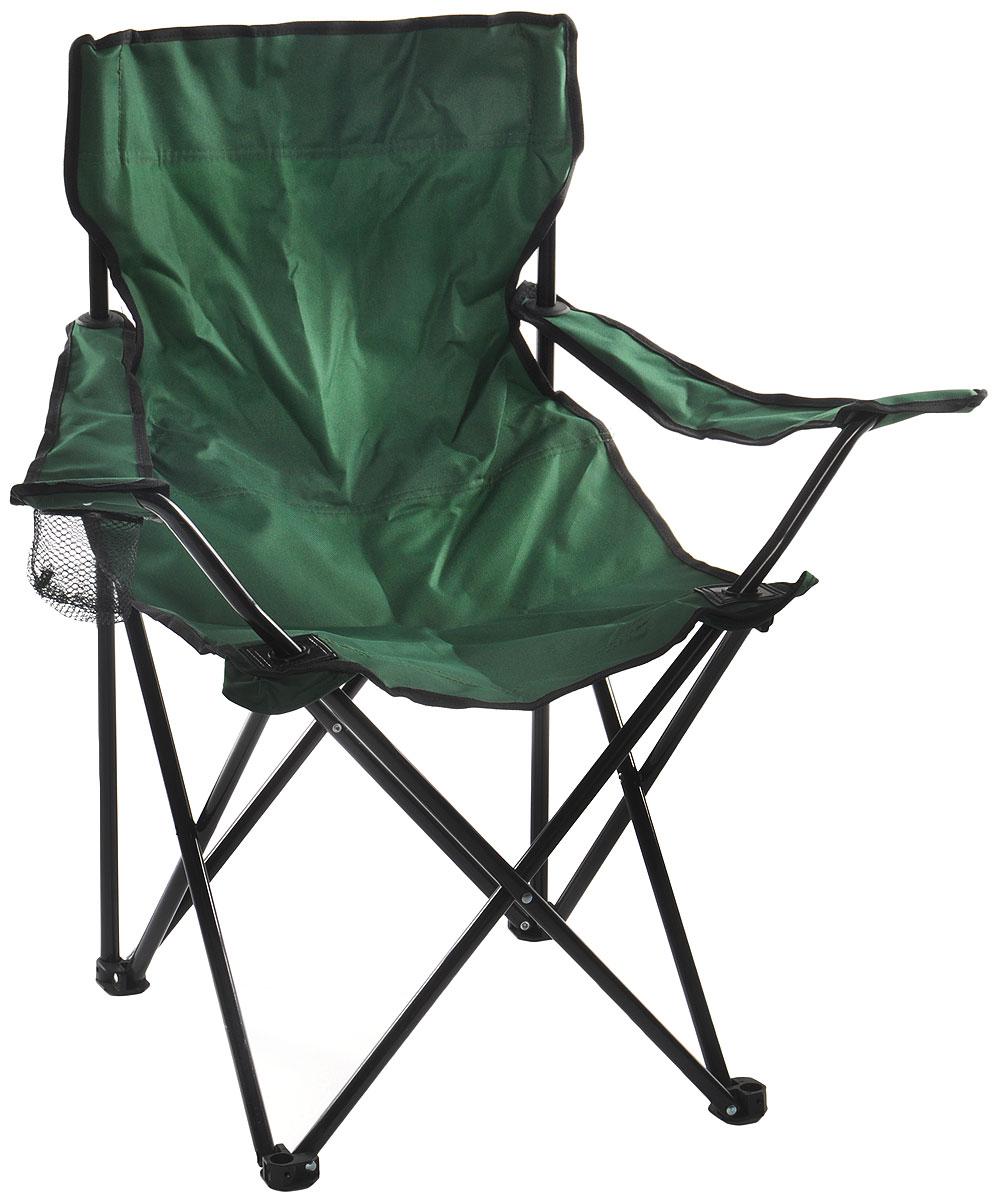 Кресло складное Wildman, с подлокотником, цвет: зеленый, 77 х 50 х 80 см81-446На складном кресле Wildman можно удобно расположиться в тени деревьев, отдохнуть в приятной прохладелетнего вечера.В использовании такое кресло достойно самых лучших похвал. Кресло выполнено из прочной ткани оксфорд, каркас стальной. Кресло оснащено удобными подлокотниками, в одном из них расположен подстаканник. В сложенном виде кресло удобно для хранения и переноски.В комплекте чехол для переноски и хранения.