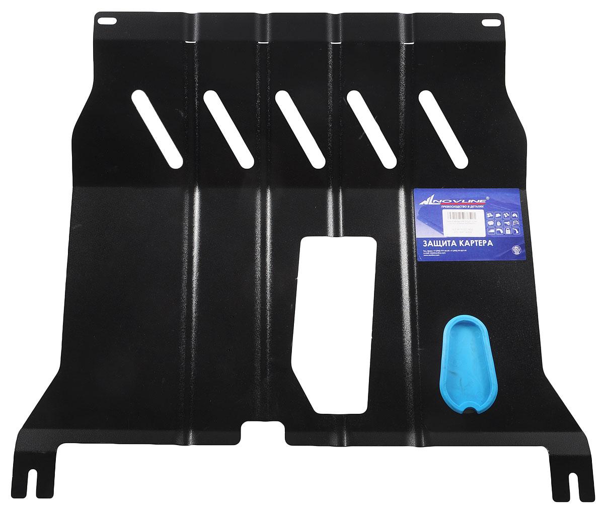 Защита картера Novline-Autofamily, для Chevrolet Cobalt (2013-) 1,5 бензин МКПП/АКПП, с комплектом крепежаNLZ.08.16.020 NEWЗащита картера двигателя - это металлическая конструкция, предназначенная для предотвращения механических повреждений узлов и агрегатов автомобиля, расположенных в нижней части кузова и подкапотного пространства. Защита.Прямая функция продукта - защищать узлы и агрегаты, расположенные в нижней части кузова и подкапотном пространстве, от механических воздействий. Безопасность.Ребра жесткости обеспечивают дополнительную прочность изделию. Специальные крепежные элементы с катодно-цинковым покрытием исключают заедание резьбы. Изделия не нарушают температурного режима работы двигателя и выхлопной системы. Эстетика.Полиэфирное порошковое покрытие - гарантия высокой коррозионной стойкости. Простота установки достигается за счет конструкции самой защиты и ее крепежных элементов. При производстве защит картера двигателя и элементов трансмиссии НОВЛАЙН используется холоднокатаная сталь, сорт - сталь 3, которая обладает следующими характеристиками: -Свариваемость без ограничений. -Не склонен к отпускной хрупкости. -Данная марка стали не флокеночувствительна. Установка защит картера двигателя и элементов трансмиссии НОВЛАЙН не требует вмешательства в конструкцию автомобиля, используются штатные технологические отверстия. В комплекте поставляется крепеж, элементы которого имеют катодно-цинковое покрытие, что исключают заедание резьбы даже при длительном использовании изделия.Эксплуатация: Необходимость наличия под днищем надежной смонтированной защиты картера особенно актуальна в условиях российского бездорожья. Наряду с этим, помимо защитной функции, защита картера двигателя и элементов трансмиссии способствует улучшению аэродинамических характеристик автомобиля. В конструкции изделия предусмотрены технологические отверстия для слива масла, закрывающиеся съемными заглушками, что значительно облегчает техническое обслуживание. Специальные демпферы, выполненн