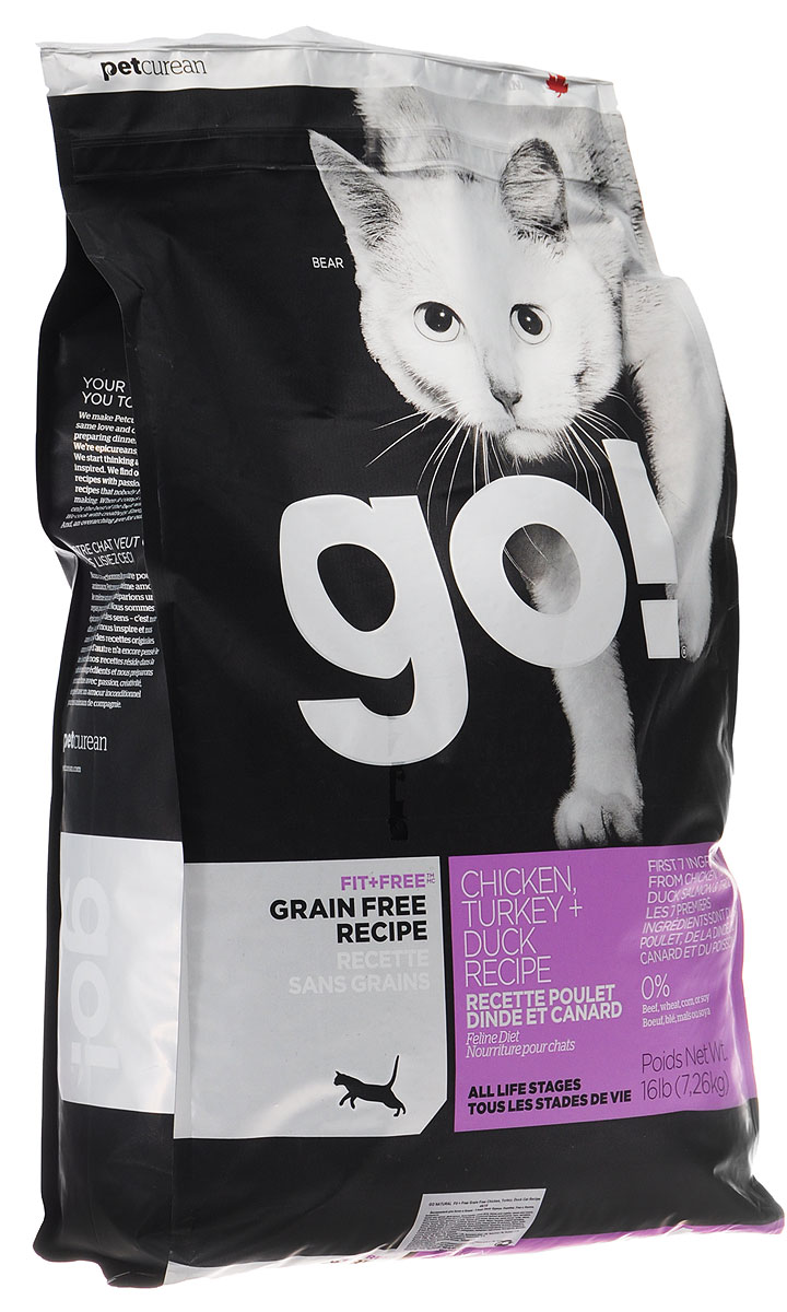 Корм сухой Go! для кошек и котят, беззерновой, с курицей, индейкой, уткой и лососем, 7,26 кг филе форели свежемороженое в кирове