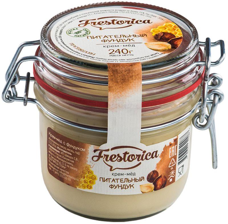 Frestorica крем-мед Питательный фундук, 240 г4665301640087Лесные орехи или фундук – один из самых сытных продуктов питания. По содержанию белка они не уступают мясным продуктам. Фундук содержит ненасыщенные жирные кислоты полезные для сердца, а также витамины группы В, полезные для нервной системы. Соединение орехов и меда позволяет создать питательный продукт, который удовлетворяет сразу трем критериям здорового питания: высокое содержание питательных веществ; наличие витаминов и микроэлементов и замечательный вкус, который нравится всем.