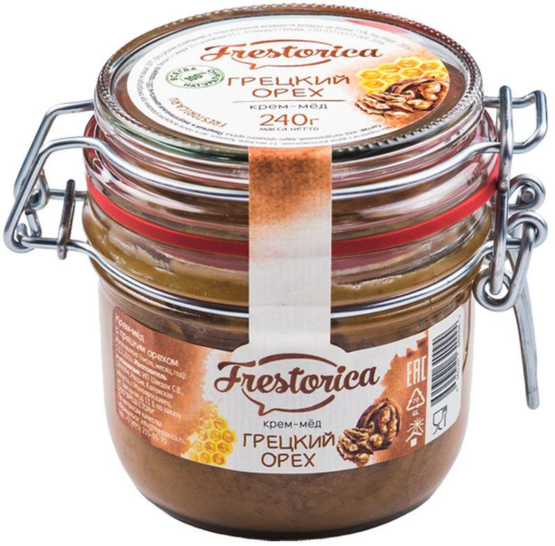 Frestorica крем-мед Грецкий орех, 240 г4665301640094Знаете ли вы, что грецкий орех в три раза питательнее пшеничного хлеба? В древности считалось, что у тех, кто ест эти орехи ежедневно, повышается умственная и физическая активность. Эти орехи также полезны при анемии, благодаря высокому содержанию железа, меди, цинка, кобальта. Добавляя орехи в крем-мед мы получили сытное лакомство с восточной ноткой и прекрасным вкусом, который наверняка понравится вам и вашим детям.