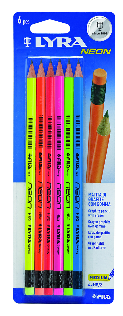 Lyra Набор чернографитных карандашей Neon C/G Hb Bls 6 шт013000Чернографитные карандаши Lyra с ластиком - основа любого начинания. Имеют прочный графитовый стержень, не ломаются и не крошатся, а деревянный корпус легко затачивается. Деревянный лакированный корпус выполнен в неоновых цветах.Мягкость HB. В комплекте 6 карандашей.