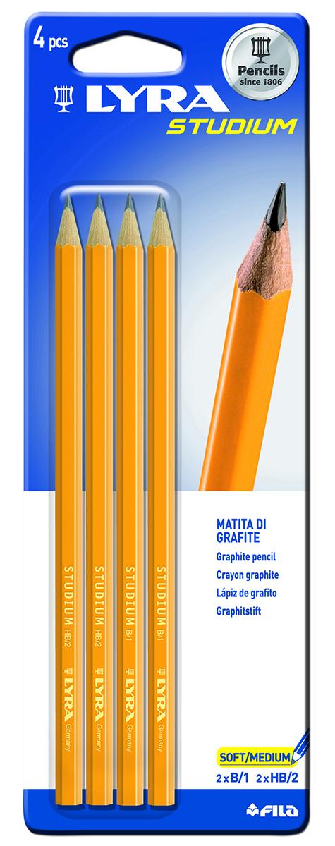 Lyra Набор чернографитных карандашей Studium Hb/B 4 шт014000Чернографитные карандаши Lyra с гексагональным сечением - основа любого начинания. Имеют прочный графитовый стержень, не ломаются и не крошатся, а деревянный лакированный корпус легко затачивается.2 карандаша с мягкостью HB и 2 карандаша с мягкостью B. В комплекте 4 карандаша.
