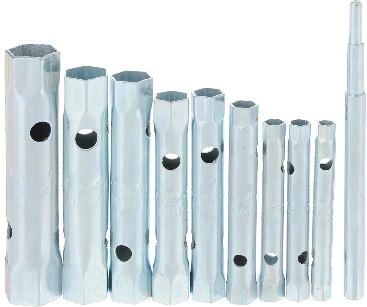 Набор трубчатых ключей Sparta, 10 предметов137525Набор трубчатых ключей Sparta предназначен для монтажа/демонтажа резьбовых соединений. Широко используется для ремонта автомобилей и в автосервисах. В набор входят ключи на 6 х 7 мм, 8 х 9 мм, 8 х 10 мм, 10 х 11 мм, 12 х 13 мм, 14 х 15 мм, 16 х 17 мм, 18 х 19 мм, 20 х 22 мм, а также вороток.