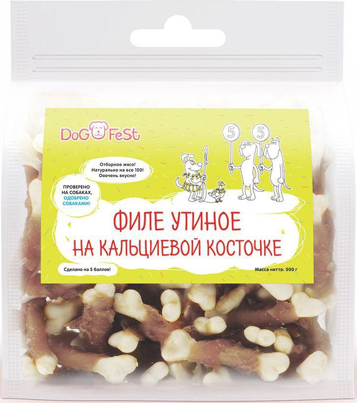 Лакомство для собак Dog Fest Филе утиное на кальциевой косточке, 500 г протеин