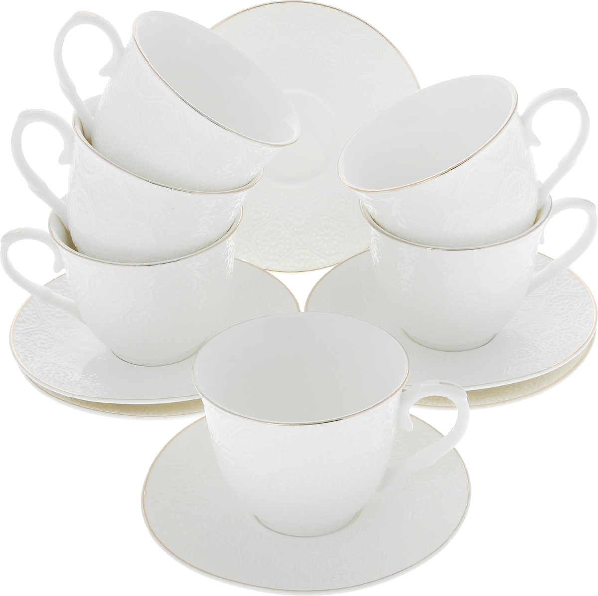 Сервиз чайный Loraine, 12 предметов. 2650526505Чайный сервиз Loraine на 6 персон выполнен из высококачественного костяного фарфора - материала, безопасного для здоровья и надолго сохраняющего тепло напитка. В наборе 6 чашек и 6 блюдец. Несмотря на свою внешнюю хрупкость, каждый из предметов набора обладает высокой прочностью и надежностью. Изделия украшены тонкой золотой каймой, внешние стенки дополнены изысканным рельефным орнаментом. Такой чайный набор станет украшением стола, а процесс чаепития превратится в одно удовольствие!Набор упакован в подарочную коробку, поэтому его можно преподнести в качестве оригинального и практичного подарка для родных и близких. Объем чашки: 200 мл. Диаметр чашки (по верхнему краю): 8,5 см. Высота чашки: 7 см. Диаметр блюдца: 13,5 см.