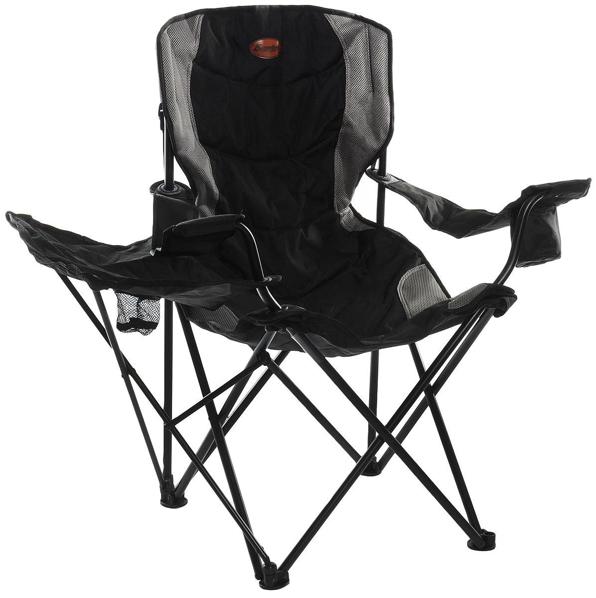 """Складное кресло Canadian Camper """"CC-399T"""" с широким сиденьем и подлокотниками станет незаменимым предметом в походе, на природе, на рыбалке, а также на даче. На подлокотнике имеется отделение для бутылки или стакана.  Кресло имеет прочный стальной каркас, оно легко собирается и разбирается и не занимает много места, поэтому подходит для транспортировки и хранения дома."""